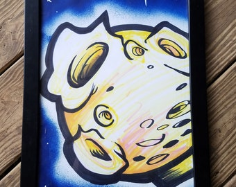 "Yellow Moon 11"" x 17"" original painting (FRAMED) by Jim Wallace"