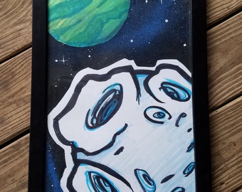 "Blue Moon 11"" x 17"" original painting (FRAMED)by Jim Wallace"