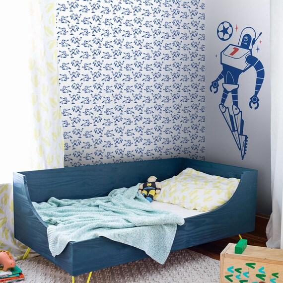 Fussball Tapete Wandbild Blau Weiss Und Rot Fussball Wallpaper Fur Jungen Schlafzimmer