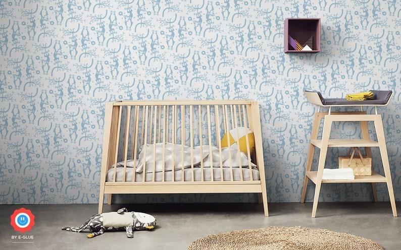 Blue Monkey Wallpaper Mural Cute Wallpapers For Baby Nursery Etsy
