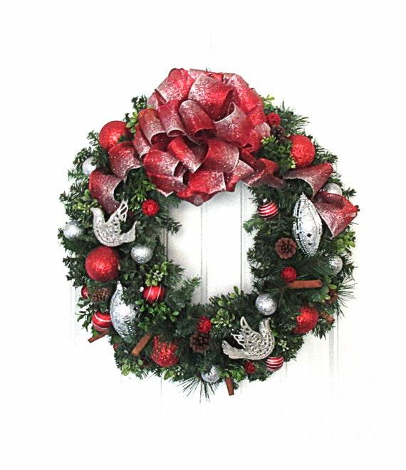 Silver Christmas Wreath.Christmas Wreath Red And Silver Christmas Wreath Artificial Pine Wreath Ready To Ship Wreath