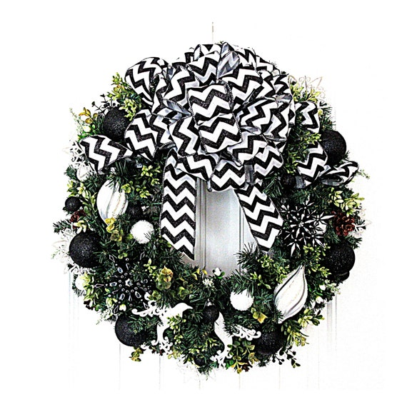 the latest 95546 aa577 Christmas Wreath - Black and White Christmas Wreath - Artificial Pine  Wreath - Ready to Ship Wreath