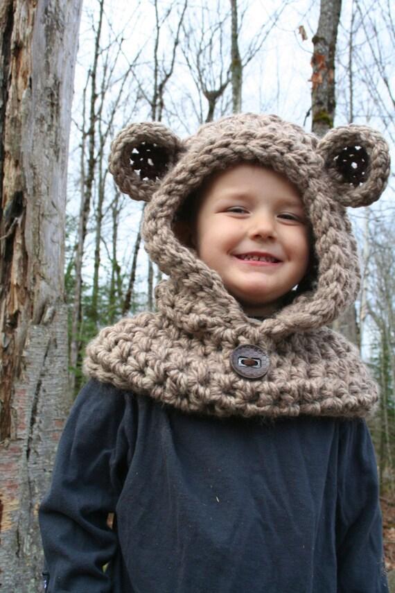 Bear Hooded Cowl Pattern Easy Crochet Pattern Teddy Bear Etsy