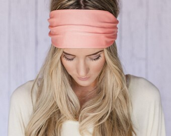 Women's Solid Poly Headband, Hair Wrap, or Head Wrap with Fabric Covered Elastic Back and Tapered Cut for Women and Teens in Melon (HB-65)