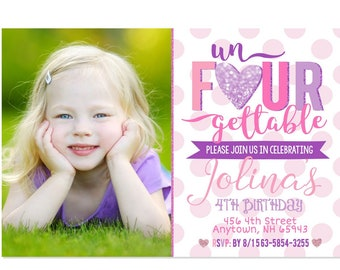UnFOURgettable Birthday Invitation 4th Party Invite Pink Purple Fourth Bday Girl Printable File