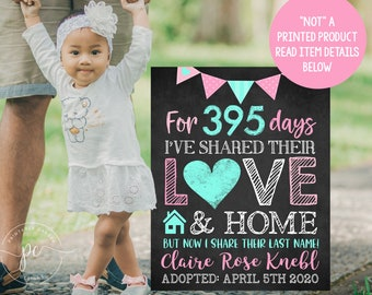 Adoption Announcement Sign Digital Chalkboard Adopted Girl Poster Photoshoot Prop Printable File