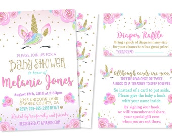Unicorn Baby Shower Invitation Etsy