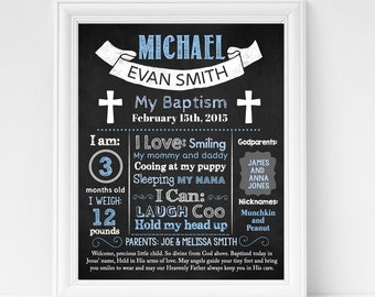 Instant Download 920 Editable Boy Baptism chalkboard sign Christening chalk board poster milestone template with photo picture