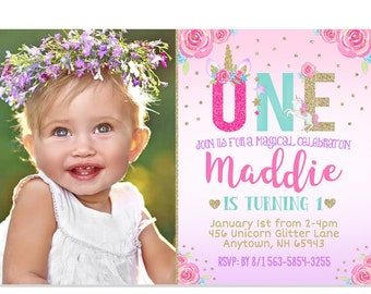 Unicorn 1st Birthday Invitation Floral Party Rainbow Pink Gold Purple Aqua Printable