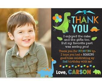 Dinosaur Thank You Dino 1st Birthday Photo Card Party Favors Printable DIY