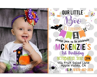Girl Halloween Birthday Invitation, Halloween Party, Little Boo Invite, Adorable Halloween Invitation, Printable