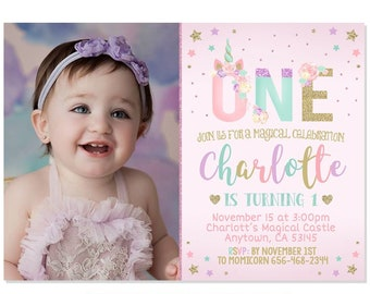 Unicorn 1st Birthday Invitation Floral Pastel Rainbow Party Pink Gold Purple Mint Adorable Invite First Printable File