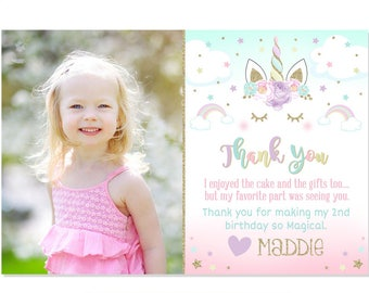 Pastel Unicorn Thank You Horse Party Face 1st Birthday Photo Card Printable DIY
