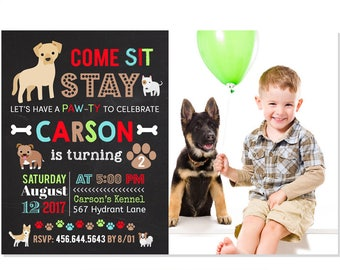 Puppy Birthday Invitation, Puppy Party Invitation, Dog Birthday Theme, Puppy Themed Party, Boy Puppy Party, Printable