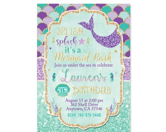 No Photo Mermaid Invitation Birthday Teal Purple Gold Under The Sea Party