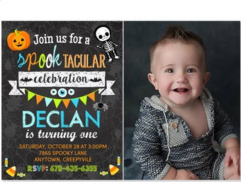 Halloween Birthday Invitation, Costume Party, Trick or Treat Invite, Adorable Halloween Invitation, Printable