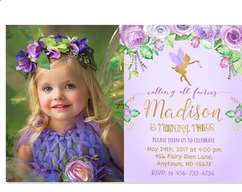 Purple Fairy Birthday Invitation, Floral Gold Invitation, Fairy Garden Invitation, Fairy Woodland Party, Magical Fairy Invite