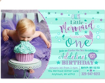 Mermaid First Birthday Invitation Invite Under The Sea Party Teal Purple Adorable