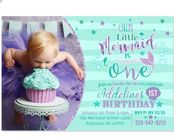 Mermaid invitation etsy mermaid first birthday invitation mermaid invite under the sea party teal purple mermaid invitation adorable mermaid birthday filmwisefo