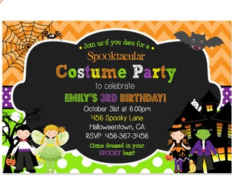 handmade halloween birthday party invitations etsy