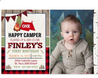 Camping Birthday Invitation One Happy Camper Lumberjack Party Buffalo Plaid 1st Rustic Printable