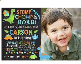 Dinosaur Birthday Invitation, Dinosaur Invitation, Dinosaur Birthday Party Invite, Chalk Dino Birthday Invitation, First 1st Birthday Boy