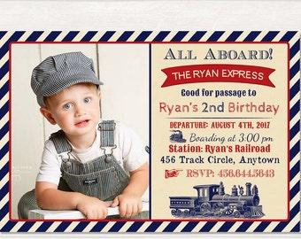 Train Birthday Invitation Party Vintage Printable Invite