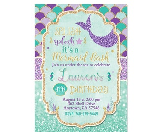 No Photo Mermaid Invitation Birthday Teal Purple Gold Under The Sea Party