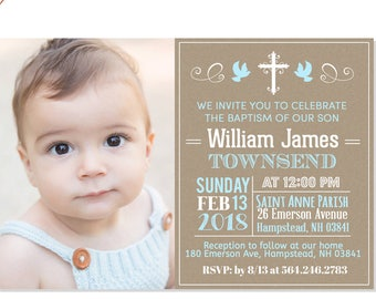 Chalk Boy Baptism Invitation Baby Boy Baptism Invitation Etsy