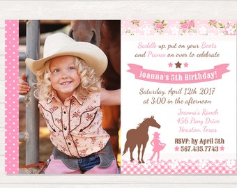 Cowgirl invitation Etsy