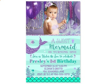Mermaid First Birthday Invitation Under The Sea Party Teal Purple 1st Invite Landscape Photo Adorable Printable File