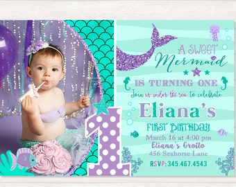Mermaid 1st Birthday Invitation Invite Under The Sea Party Teal Purple Adorable