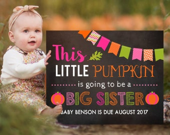 Pumpkin Pregnancy Announcement, Fall Announcement, Thanksgiving Photoshoot Prop, Autumn Baby Announcement, Big Sister Sign
