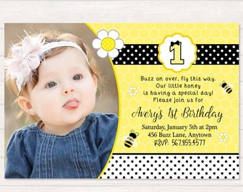 Bee Birthday Invitation - Bumble Bee Birthday - Bee Party - Bee Invitation - Girl Bee Birthday - Bee Printables - DIY Custom Printable