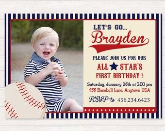 Baseball Birthday Invitation, Vintage Baseball Birthday Invitation, Baseball Party, Baseball first Birthday, Sports party