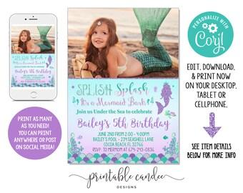 Mermaid Birthday Invitation Purple Teal Gold Party Landscape Photo Theme Invite Instant Download Editable File Printable DIY