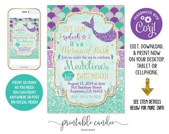 Mermaid Birthday Invitation Purple Teal Gold Party Theme Invite Instant Download Editable File Printable DIY