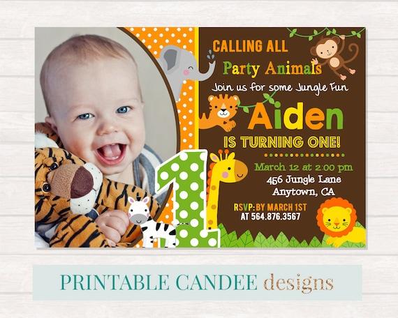 Jungle Birthday Invitation Baby Animal Invite