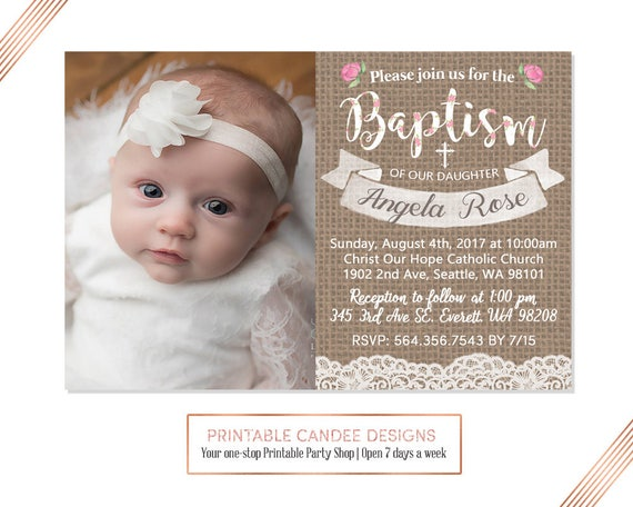 shabby rose baptism invitation baby girl baptism invitation etsy