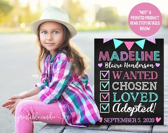 Adoption Announcement Sign Digital Chalkboard Daughter Chosen Adopted Girl Poster Photoshoot Prop Printable File