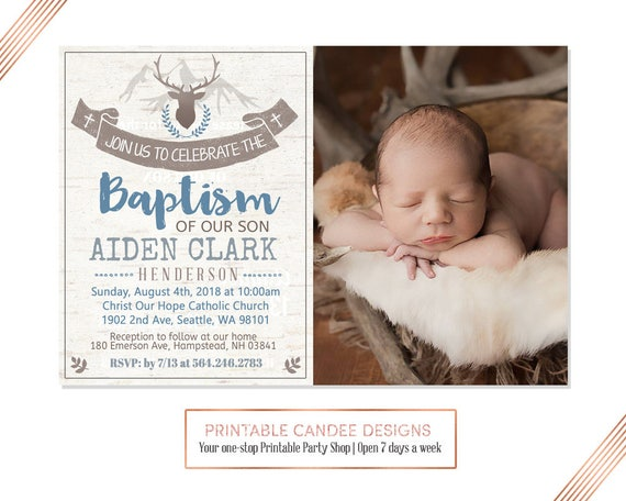 Rustic Deer Baptism Invitation Baby Boy Baptism Invitation Etsy