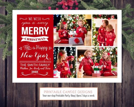 Custom Christmas Cards.Printable Christmas Card With 4 Photos Merry Holiday Holiday Card Custom Christmas Card Red Cristmas Bright Christmas Card