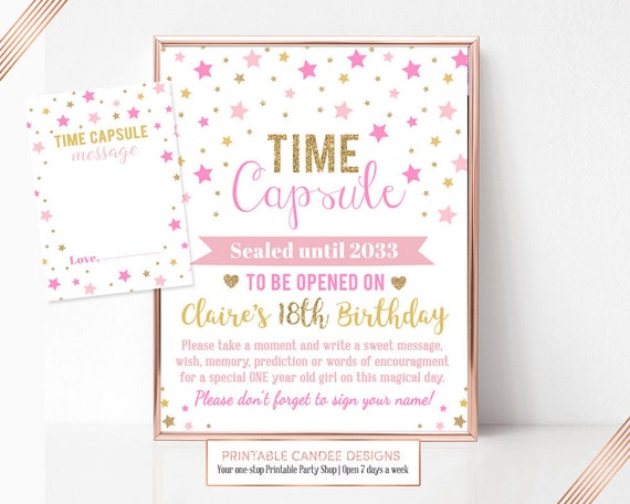 Twinkle Little Star Time Capsule Pink Gold Glitter Note Cards