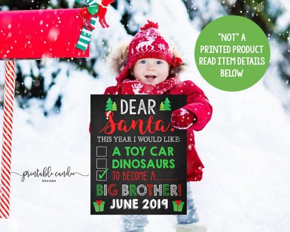 Christmas Pregnancy Announcement Holiday Dear Santa Letter Big