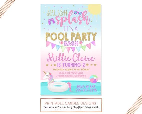 Unicorn Pool Party Invitation Birthday