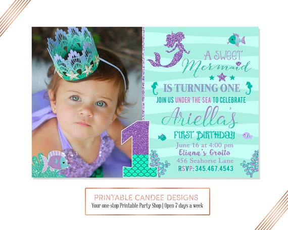 Mermaid First Birthday Invitation Invite Under The