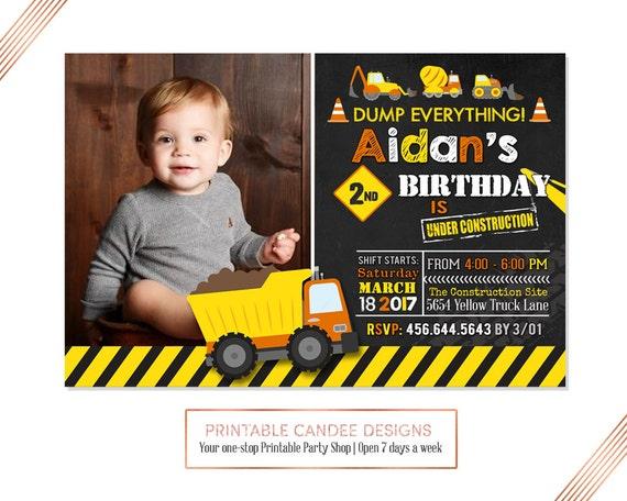 dump truck birthday invitation construction birthday etsy