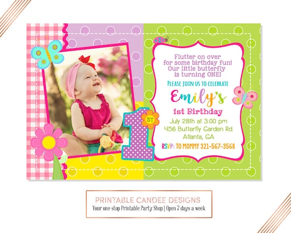 Butterfly 1st Birthday Invitation Bug Party Insects Garden
