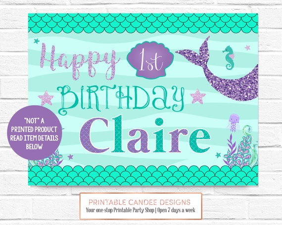 Mermaid Party Birthday Backdrop Purple Teal 1st Poster Under Etsy