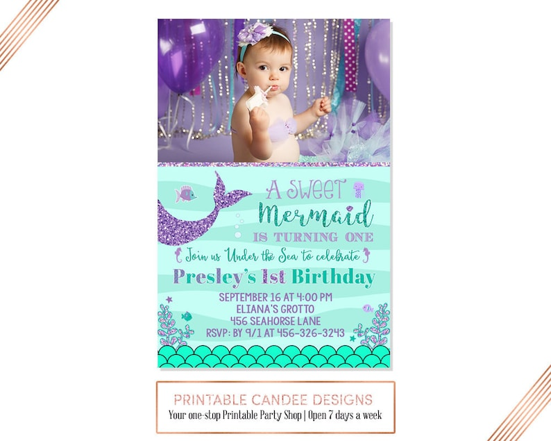Mermaid First Birthday Invitation Under The Sea Party Teal
